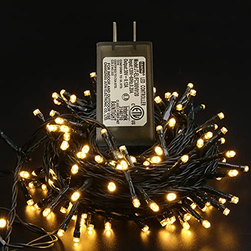 Maniana 200 led Christmas Lights Warm White Christmas Lights Outdoor 82ft Christmas String Lights Indoor Waterproof 8 Modes Plug in Green Wire ETL Adapter for Trees Bedroom Party Holiday Decoration