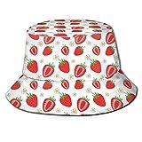 Yaxinduobao Sombrero de Cubo Sombrero de Cubo con diseño de Fresa Sombrero de Sol Unisex Sombrero de Viaje Plegable de Pescador Estampado Sombrero de Moda para Exteriores