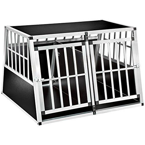 TecTake Box per trasporto cani alluminio trapezoidale - modelli differenti - (104x90,5x69cm con divisorio | No. 402227-7)