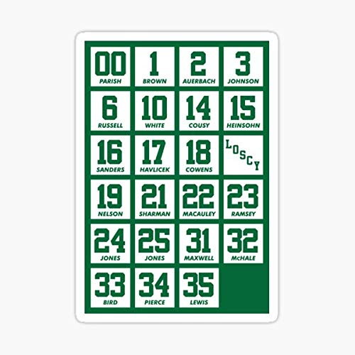 Retired Numbers - Celtics Sticker - Sticker Graphic - Auto, Wall, Laptop, Cell, Truck Sticker for Windows, Cars, Trucks