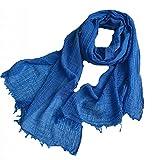1 unids primavera y otoño delgado delgado lana delgada bufanda hueca color puro rectangular universal seda bufanda aire acondicionado cuello protección calidez 918 ( Color : Blue , Size : 220x50cm )