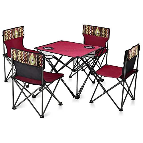 JDJFDKSFH Table de Camping Pliante et chaises serties d une Tasse de Maille, Portable 4 chaises 1 Table, Table de Jardin extérieure Ultra-légère et chaises