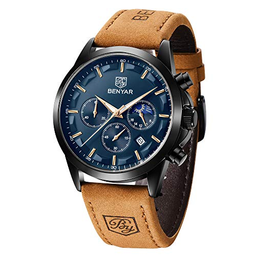 Reloj para Hombre Benyar Reloj cronógrafo analógico de Cuarzo Resistente al Agua Negra Moda Relojes de Pulsera Calendario con Correa de Cuero (Marrón/Azul) Regalo para Hombres
