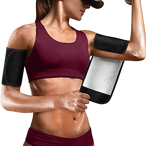 Cimkiz Arm Trimmers for Women Pair Black Sauna Arm Sweat Bands Adjustable Arm Trainer Sleeves for Sports (Silver, one Size)
