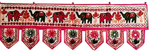 ICC valances for Windows Toran Cotton Vintage Patchwork Door Hanging Valance Window Hand Embroidered Bohemian Decor Living Room Wall Bedroom Living Room Home Handmade Decorations Elephant 42 Inches