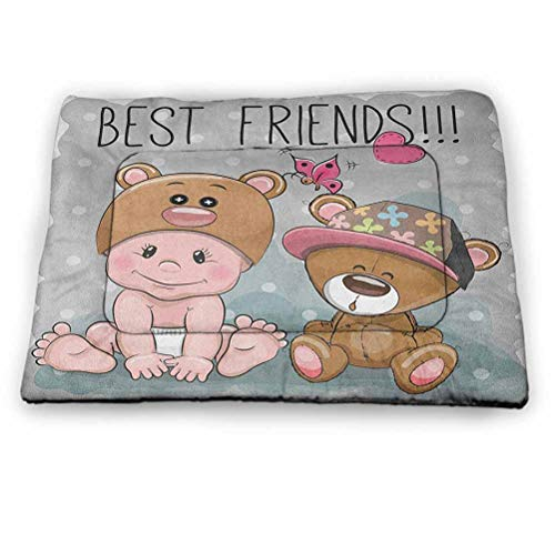 """Pet Bed Cushion Cat Bed Butterfly Pet Dog Cooling Mat Pad Cute Cartoon Baby in Bear Hat and Teddy Bear with Butterflies Best Friends Print for Outdoor, Car Seats, Beds in Summer Multicolor (52""""x34"""")"""