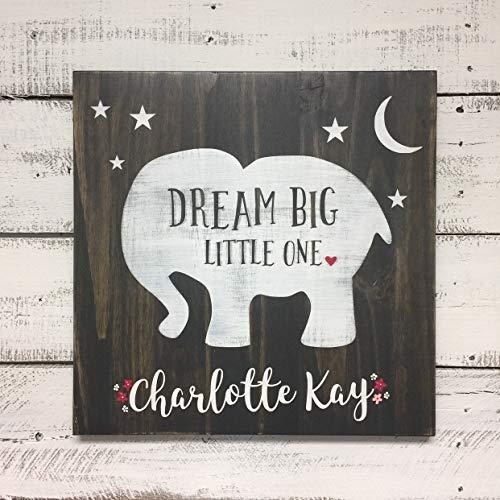 Thomas655 Baby Girl Nursery Decor éléphant Dream big Little One personnalisé Neutre Signe
