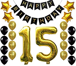 Gold 15 Birthday Decorations Balloon Banner - Happy Birthday Banner, 15 Gold Number Balloons, Gold and Black Balloons, 15 ...