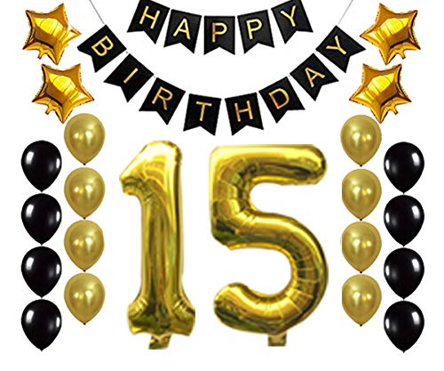 Gold 15 Birthday Decorations Balloon Banner - Happy Birthday Banner, 15 Gold Number Balloons, Gold and Black Balloons, 15 Years Old Birthday Decoration Supplies Fancy