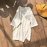 LYHMHZ Camiseta De Manga Femenina Femenina Femenina Dividida Irregular. (Color : White, Size : One Size)