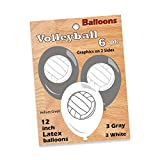 Volleyball Balloons, Party Decorations (12' Printed Latex Balloons, 6 Pack) Volleyball Side Out Party Collection by Havercamp