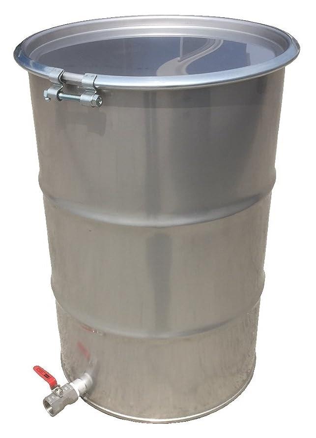 実験室秀でる気分が良いSUS製ドラム缶 オープンタイプ 200L バルブ付 ボルトバンド式