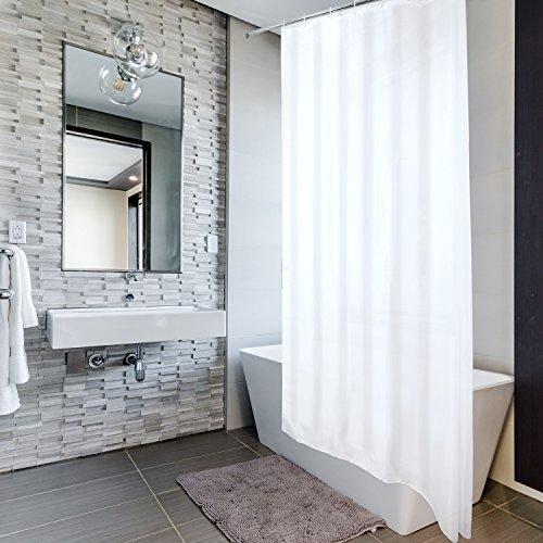 VALNEO Duschvorhang mit Anti-Schimmel-Effekt, weiß, 180 x 200 cm, inkl. Befestigungsringen