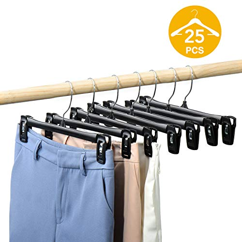 HOUSE DAY Pants Hangers 25 Pcs 12inch Black Plastic Skirt Hangers with Non-Slip Big Clips and 360 Swivel Hook, Durable Sturdy Plastic, Space-Saving Shape, Elegant for Closet Organizing
