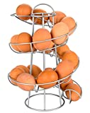 Southern Homewares Egg Skelter Deluxe Modern Spiraling Dispenser Rack, Silver