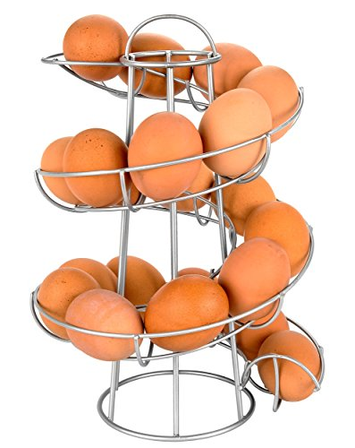 Egg Skelter Deluxe Modern Spiraling Dispenser Rack, Silver