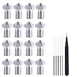 QOHFLD Accesorios de Impresora 27pcs / Set boquillas de Acero Inoxidable V6 con Kits de Limpieza de Cabezales de impresión de hotend y Pinzas para impresoras 3D