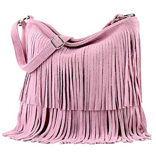 modamoda de - T125 - ital Schultertasche Fransen Wildleder, Farbe:Rosa