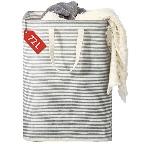 Vieshful Laundry Hamper 72L Freestanding Laundry Basket with Long Handles to Storage Clothes Toys Large Foldable Clothes Basket Grey