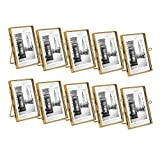 Isaac Jacobs 2x3 (10-Pack), Antique Gold, Vintage Style Brass and Glass, Metal Floating Picture Frame (Vertical) with Locket Closure, for Photos, Art, More, Tabletop Display (2x3 Antique Gold)