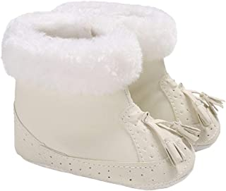 Baby Girls Winter Tassel Brogue Snow Boots Anti-Slip Plush Booties Crib Shoes