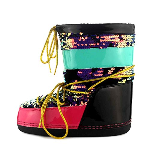 Cape Robbin MB-11 Warm Winter Boots for Women Girls, Glitter Lace Up Moon Boots, Ladies Winter Boots - Multi Color Size 10