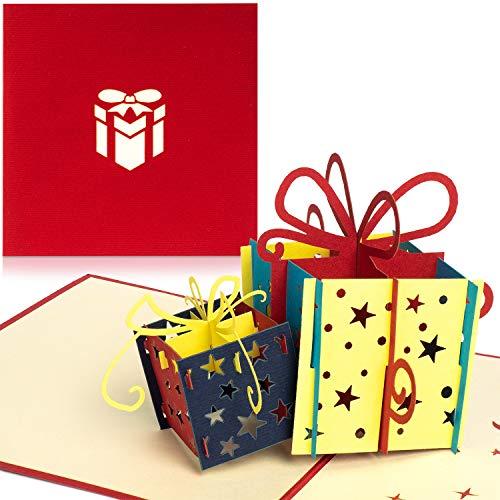 PaperCrush® Pop-Up Geburtstagskarte für Geldgeschenk (Rot) - 3D Popup Karte zum Geburtstag, Geldgeschenkkarte - Handgemachte Glückwunschkarte inkl. Umschlag