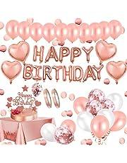 AivaToba Roséguld födelsedagsdekorationer flicka, grattis på födelsedagen ballong banderoll latex konfetti roséguld ballonger folie bordsduk, födelsedagsballonger för flicka dam födelsedag 30:e 18:e festtillbehör