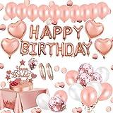AivaToba Geburtstagsdeko Rosegold Deko, Happy Birthday Decorations Girlande Balloon, Rosegold Konfetti Luftballons, Tischdeko Geburtstag Deko zum Mädchen