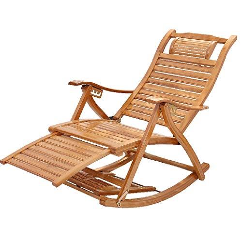 WFFF Silla Mecedora reclinable Sillas de salón Plegables Sillón reclinable con balcón Ajustable, diseño de Tiras de bambú integradas Silla de jardín para césped al Aire Libre