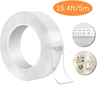 Traceless Washable Tape Nano Tape (16.4FT/5M) Reusable Multifunction Clear Double-Sided Detachable Adhesive Tape For Paste...