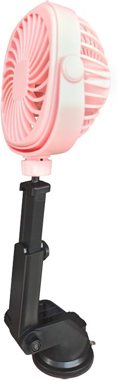 KUMADAI Ventilador Aire Frio Coche Ventosa Ventilador Coche USB Recargable Ventilador para Coche con Pilas Ventilador de Coche Portátil 3 Velocidades Coche Auto Potente Ventilador,Rosado