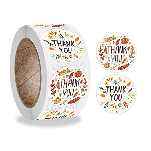 500 PCS 1.5 Inch Fall Thanksgiving Day Stickers Autumn Thank You Stickers Roll for Business Packaging Boutique Packages Envelope Seals Thanksgiving Holiday Gifts Wedding Party Giveaways