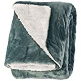 """Life Comfort Microfiber Plush Polyester 60""""x70"""" Large All Season Blanket for Bed or Couch Ultimate Sherpa Throw, Sage Green"""