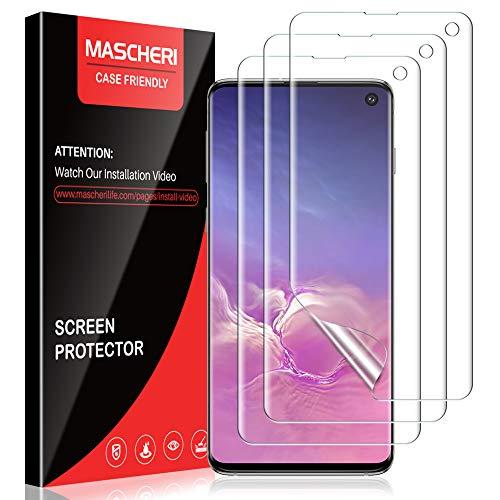 MASCHERI Schutzfolie für Samsung Galaxy S10, [3 Stück] [TPU-Folie] [kein Glas] [Mit Stellungsregler] HD Soft Displayschutz Displayschutzfolie Display Folie für Samsung S10 - klar