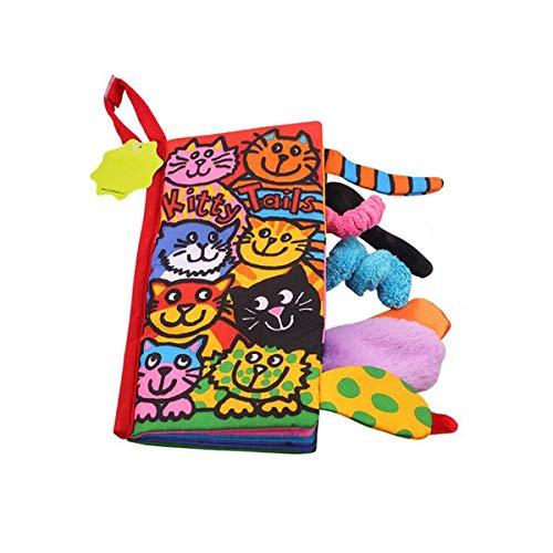 Queue de bébé Tissu Livre - Activité coloré Tissu Livre Jouet, apprentissage non toxique Tissu Toy Book, My First doux livre meilleur cadeau pour bébé (Kitty)