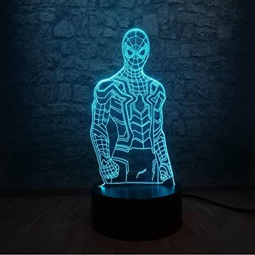 OUUED Lámpara de noche Juguetes Superhéroe Hombre Figura Spiderman 3D Lámpara LED Carga USB Lampara Luz de noche para dormir Decoración de habitación para adolescentes Niños Juguetes para niños Niños