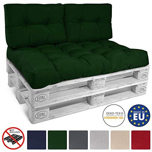 Beautissu Cojines para palés, sofá-Palet y europalet Eco Style - Cojines de Apoyo Acolchado 2X 60x40x10-20 cm Color: Verde Oscuro Elegir in/Outdoor