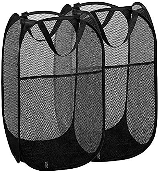 Pop Up Laundry Hamper Laundry Hamper Basket Foldable Dirty Clothes Hamper Travel Basket For Kids Portable Durable Handles Mesh Laundry Hamper Large 2 Pack Black MS19 ZYL ZZPL 1