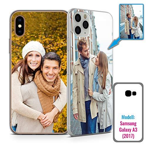 PixiPrints Foto-Handyhülle mit eigenem Bild kompatibel mit Samsung Galaxy A3 (2017), Hülle: TPU-Silikon in Transparent, personalisiertes Premium-Case selbst gestalten mit flexiblem Druck