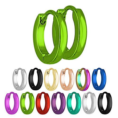 Treuheld® | Schmale Creolen Ohrringe aus Edelstahl | Grün | Größe: 2mm x 10mm