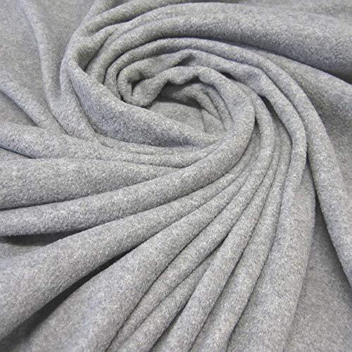 Stoff Meterware Fleece Polar - Fleece weich kuschelig grau Kleiderstoff hellgrau Meterpreis