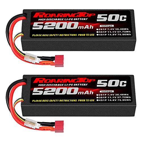 RoaringTop 7.4V 50C 5200mAh 2S RC Lipo Battery with Deans Connector for RC Car Truck Truggy Boat(2 Pack)