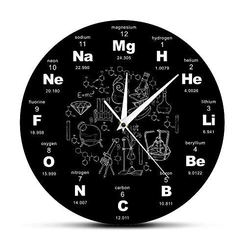 YYCFB Reloj de pared con el sistema periódico de elementos de arte de pared, símbolos químicos, reloj de pared, elemento dagógico, expositor para aula, regalo del profesor, color negro