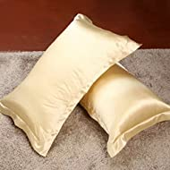 Magideal 2X Silky Soft Satin Standard Pillow Cushion Cover Pillowcase Bed Decor-Tan