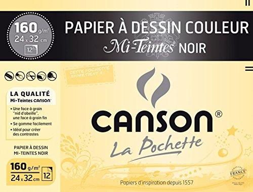Canson Mi-Teintes Papier à dessin 24 x 32 cm 12 feuilles Noir