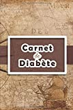 Carnet de Diabète: Carnet diabetique avec suivi de Glycémie sur 53 semaines   111 pages, 15,24 x 22,86cm   Broché   Avant après, 5 moments de la ... coucher)   fond carte du monde vintage marron