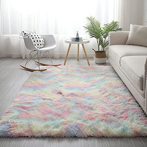 ERPENG Alfombras 180x280cm Lavable, Tie-Dye Alfombras Peludas Alfombra Antideslizante Muy Suave para salón Dormitorio baño sofá cojín, Siete Colores