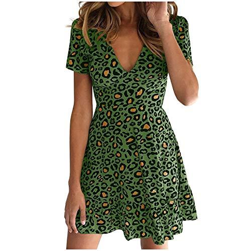 lecduo - Vestido de mujer de manga corta con estampado de leopardo, vestido de noche, vestido sexy verde S