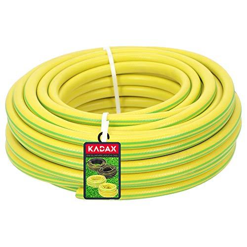 KADAX Bequemer Gartenschlauch aus PVC-Materialien, 20 m Länge, leichter 3-lagiger Schlauch, auslaufsicherer Wasserschlauch für Rasenbewässerung (½ Zoll)